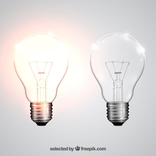 Realistic light bulbs Free Vector