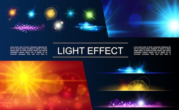 반짝 반짝 빛나는 햇빛 효과와 밝은 플레어 반점을 가진 현실적인 조명 요소 구성 무료 벡터