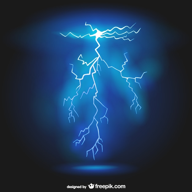 Realistic lightning background Free Vector