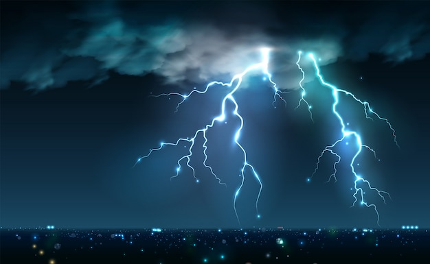 Realistic lightning bolts flashes composition with view of night city sky with clouds and thunderbolt images Free Vector