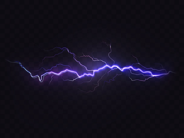 黒背景に現実的な稲妻。自然光の効果、明るい輝く 無料ベクター