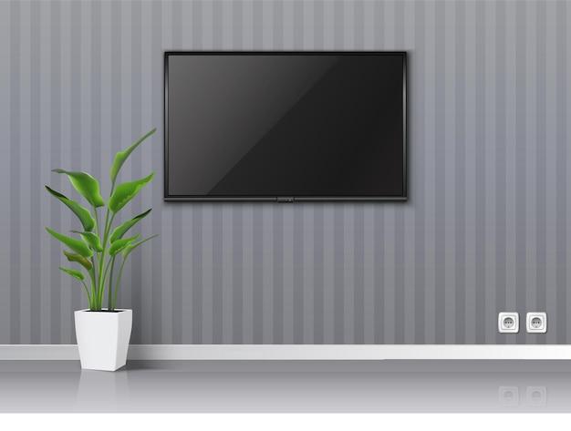 문을 열고 흰색 책꽂이와 바닥 식물이있는 벽에 검은 화면이있는 현실적인 거실. 프리미엄 벡터