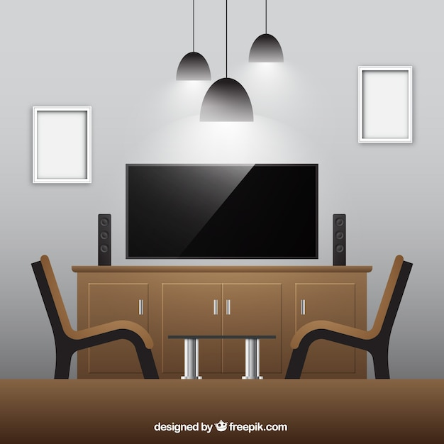 Realistic Living Room With Wooden Furniture Vector Free