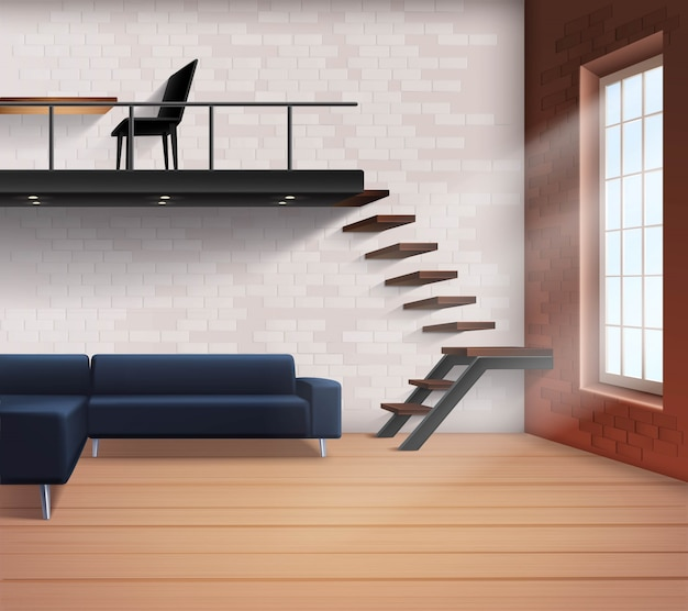 Realistic loft interior concept Free Vector