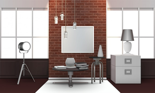 Realistic loft interior Free Vector
