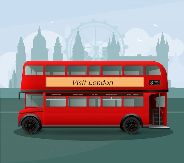 Realistic london double decker bus illustration Free Vector
