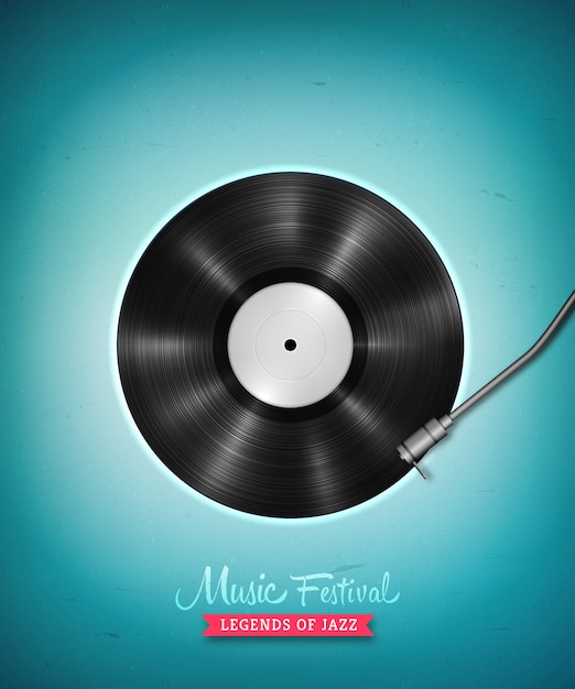 Realistic long-playing lp vinyl record. vintage vector vinyl gramophone record Premium Vector