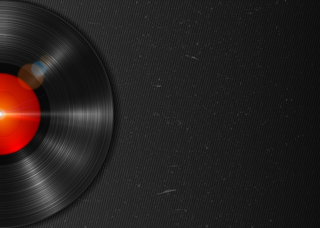 Realistic long-playing lp vinyl record with red label. vintage vinyl gramophone record on dark grunge background Premium Vector