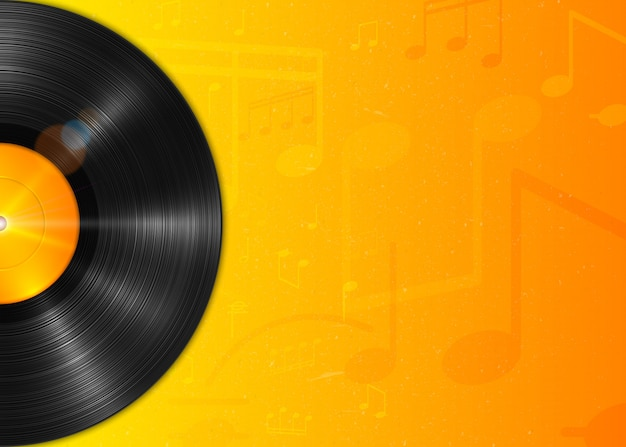 Realistic long-playing lp vinyl record with yellow label. vintage vinyl gramophone record, background with notes. Premium Vector