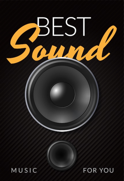Realistic loud speaker advertising poster with white ...