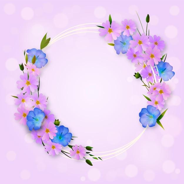 リアルな素敵な春の花のフレーム 無料ベクター