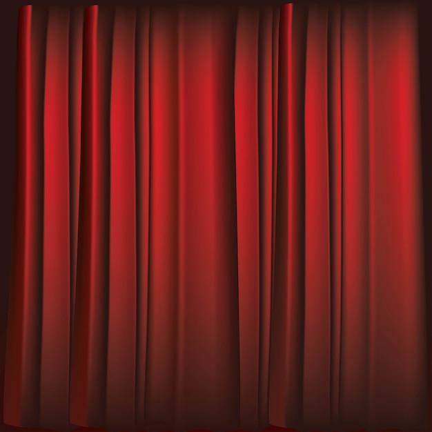 Realistic luxurious red velvet curtains Premium Vector