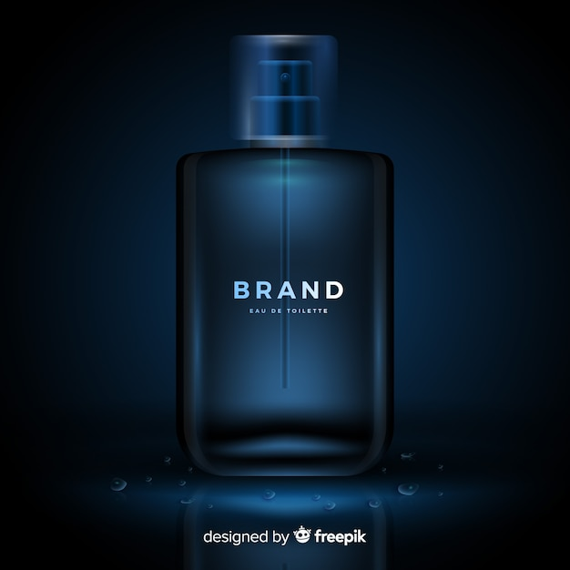 Realistic luxury perfume ad template Free Vector