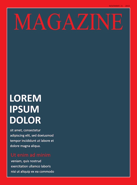 realistic magazine cover front page template vector