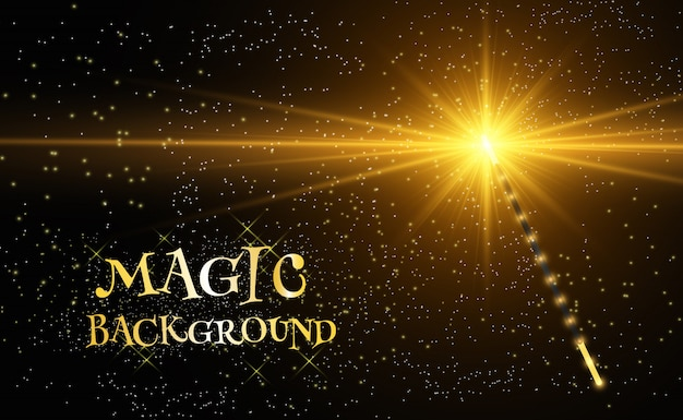 Realistic magic wand with bright sparkles on a transparent background. Premium Vector