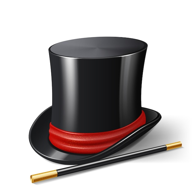 Realistic magician hat with magic stick Free Vector