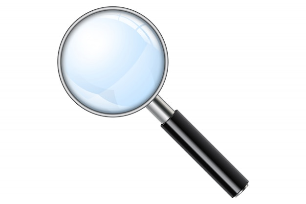 Realistic magnifying glass, magnify Premium Vector