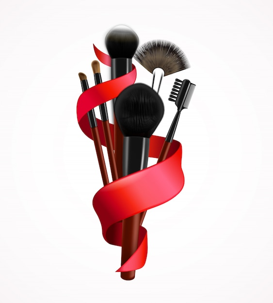 Realistic make up brushes composition Free Vector