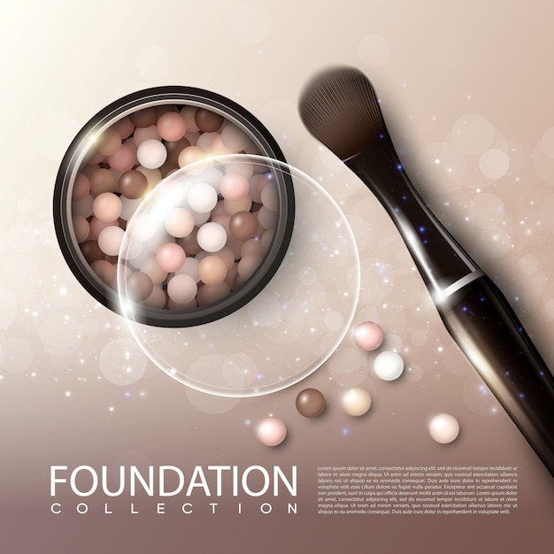 Realistic makeup products ads poster Free Vector