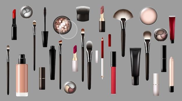 Реалистичная коллекция продуктов для макияжа Бесплатные векторы