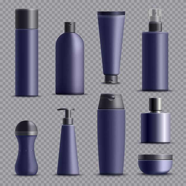 Realistic male cosmetic packagings set Free Vector