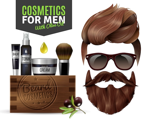 Realistic male cosmetics poster Free Vector