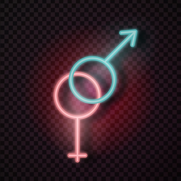 Realistic  male and female erotic neon sign for decoration and covering on the transparent background. Premium Vector