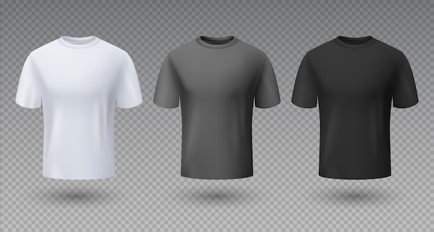 Realistic male shirt. white black and gray t-shirt 3d mockup, blank  template, sport clean unisex clothing Premium Vector