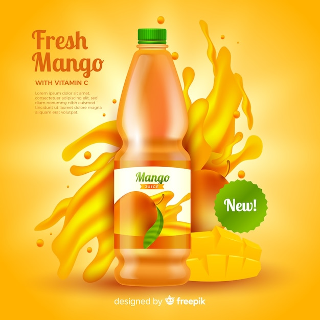 Realistic mango juice ad template Vector | Free Download
