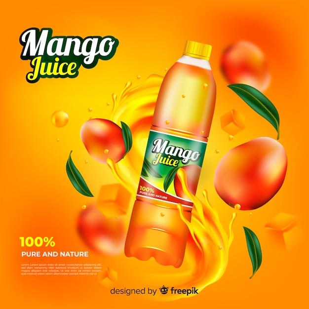 リアルなマンゴージュース広告テンプレート 無料ベクター