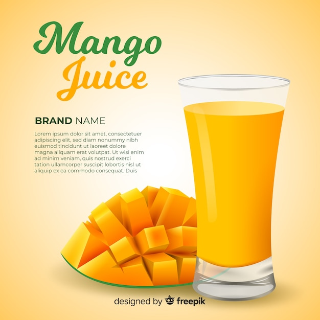 Realistic mango juice advertisement Free Vector