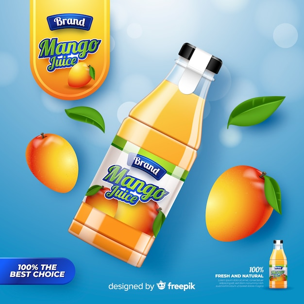 Realistic mango juice advertisement Free Vector