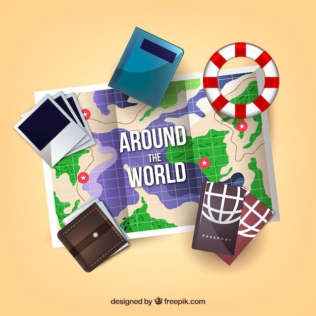 Mappa realistica con elementi di viaggio Vettore gratuito