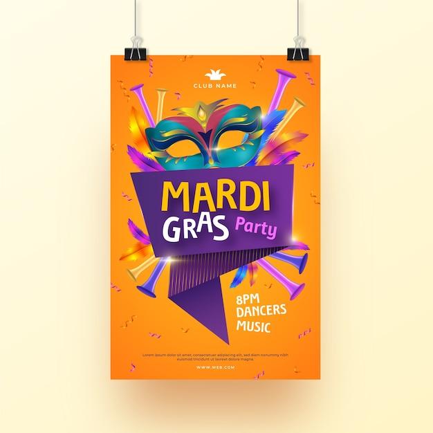 Realistic mardi gras flyer template design Free Vector