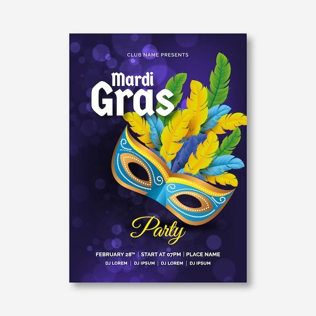 Realistic mardi gras flyer template Free Vector