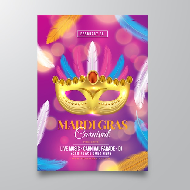 Realistic mardi gras flyer template Free Vector
