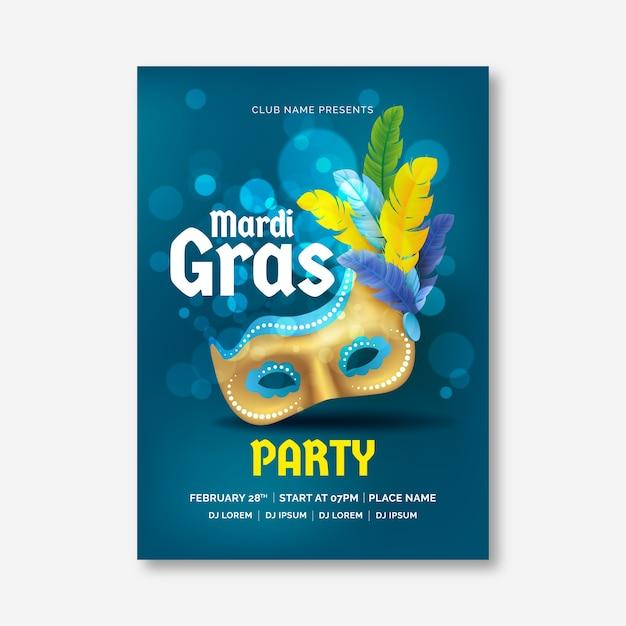 Realistic mardi gras poster template Free Vector