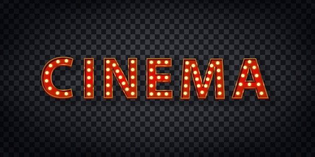 テンプレートの装飾と透明な背景のカバーのための映画のロゴの現実的なマーキー記号。ショーとディレクターのコンセプト。 Premiumベクター