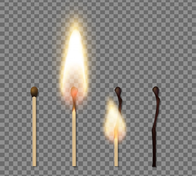 Realistic match stick flame icon set with four steps of burning match  illustration Free Vector