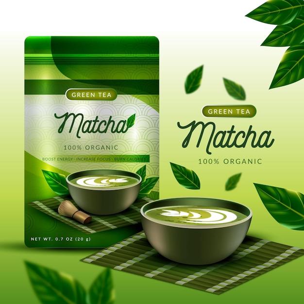 Realistic matcha tea ad concept Free Vector
