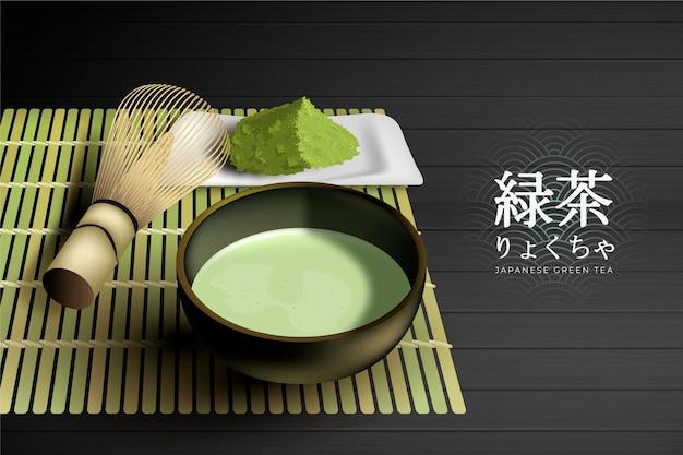 Realistic matcha tea ad template Free Vector
