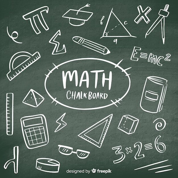 Realistic math chalkboard background Free Vector