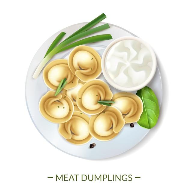 La composizione degli alimenti gastronomica nella carne realistica con testo e la vista superiore degli gnocchi è servito sull'illustrazione di vettore del piatto Vettore gratuito