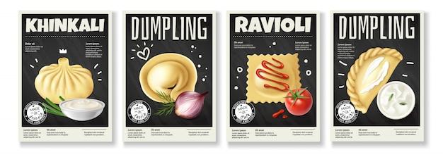 Реалистичная еда для гурманов из четырех изображений пельменей Бесплатные векторы