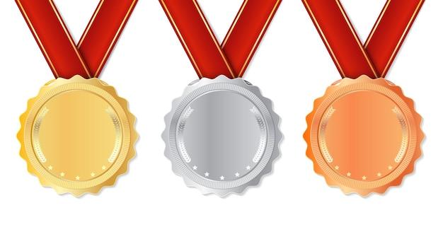 Реалистичная медаль с красными лентами. Premium векторы