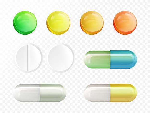 Реалистичные медицинские препараты - цветные и белые круглые таблетки и капсулы Бесплатные векторы