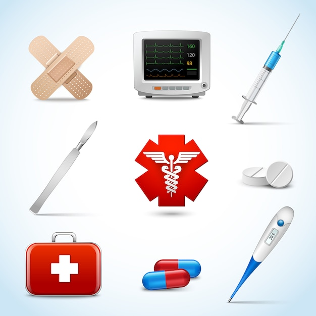 Realistic medical emergency services elements set with capsule sticking plaster scalpel isolated vector illustration. Free Vector