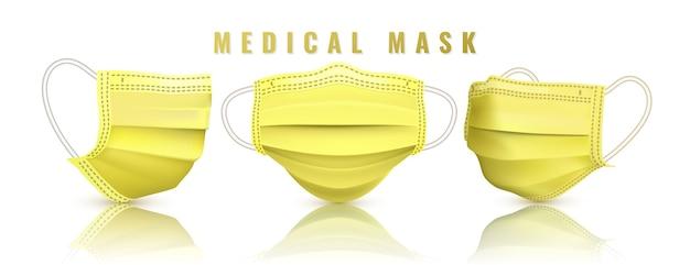 リアルな医療用フェイスマスク。詳細3d医療用マスク。 Premiumベクター