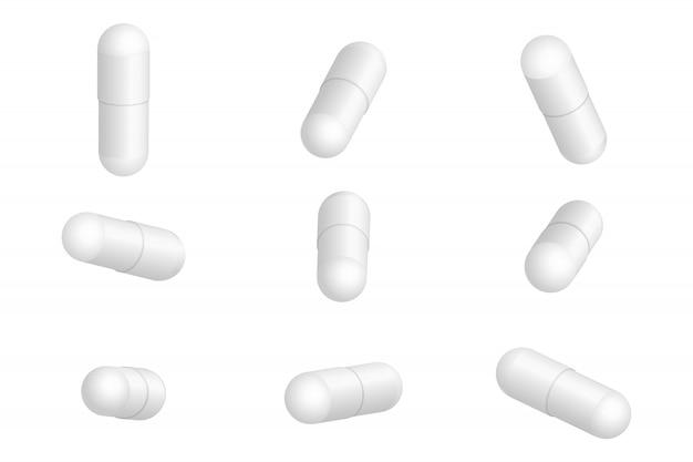 Реалистичные медицинские таблетки изолированы Premium векторы