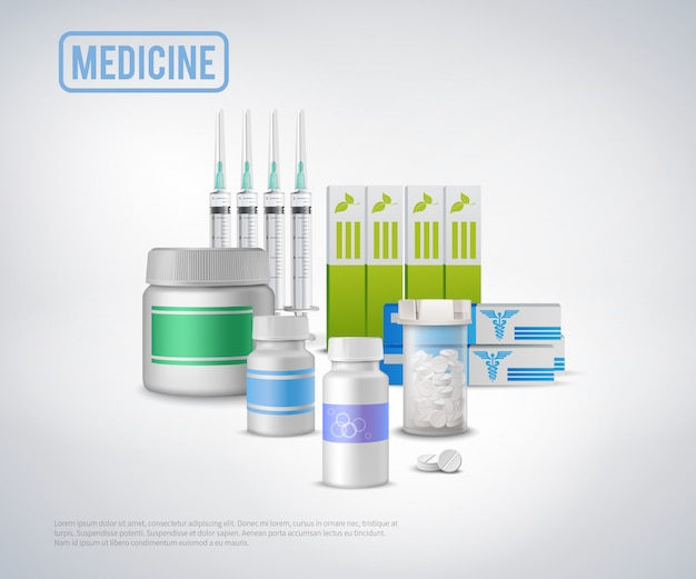 Realistic medical supplies background Free Vector
